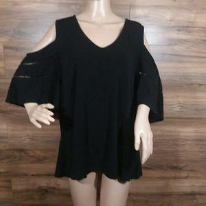 City Chic Black Cold Shoulder Blouse Top Size 16
